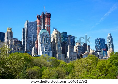 Central Park with Manhattan skyline in New York City - stock photo
