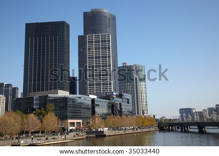 Central part of Melbourne with modern buildings - stock photo
