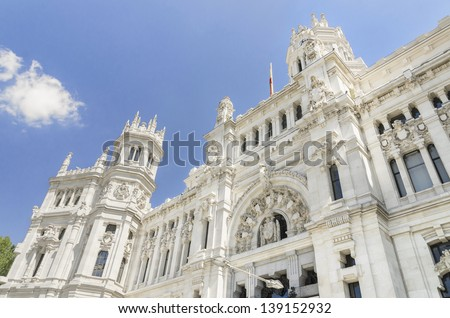 Central Post office building, Palacio de Comunicaciones, Madrid (Spain) - stock photo