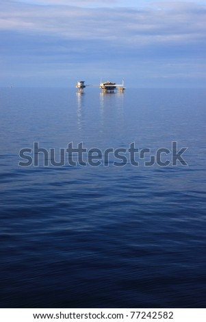 Central Processing Platform Offshore for Oil and Gas Production - stock photo