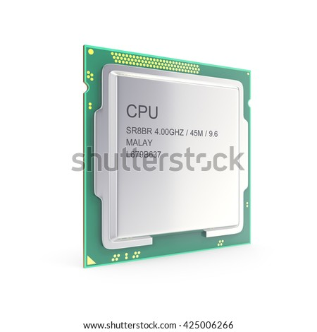 Central processor unit, CPU isolated on white. 3d illustration - stock photo