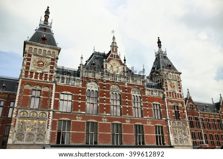 Central Railway Station building in Amsterdam, Netherlands