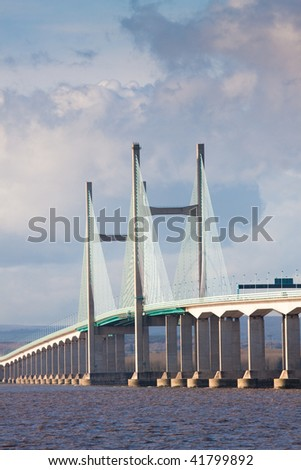 Central span of new Severn Bridge carrying the M4 motorway connection to Wales - stock photo