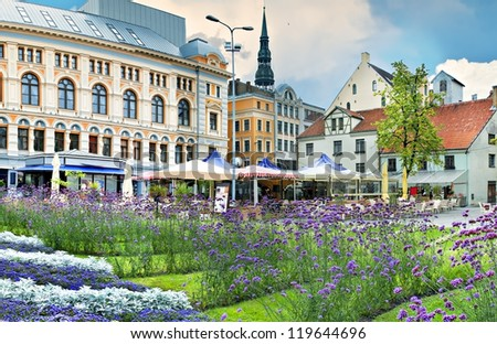 Central square in the old city of Riga -capital of Latvia. In 2014, Riga is the European capital of culture - stock photo