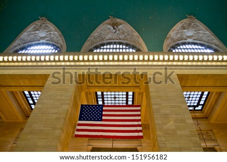 central station NY, US flag - stock photo