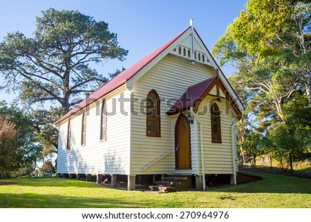 Central Tilba Church in its idyllic setting near Narooma in New South Wales, Australia