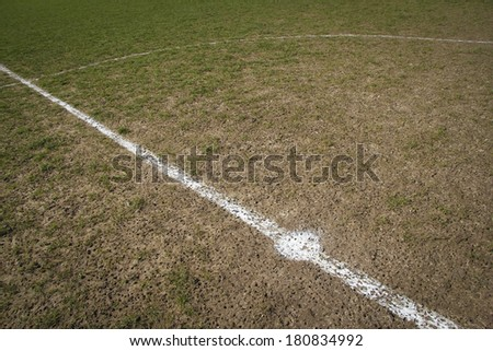 Centre circle local football pitch - stock photo