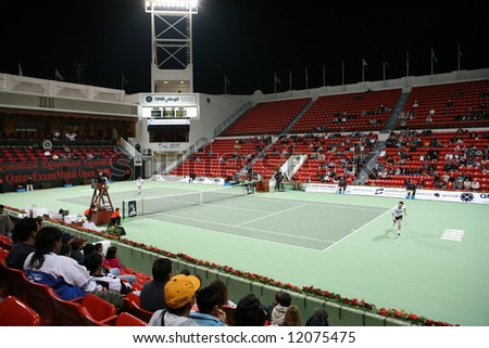 Centre Court at the Khalifa Tennis Complex in Doha, Qatar, during the Jan 1, 2008, Qatar Open match between Agustin Calleri and Tommy  Robrero.