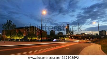 Centrum of Katowice in the ewening. Polish. - stock photo