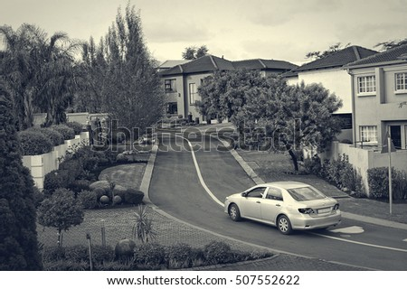 Centurion, South Africa -December 20,2013: Nice photo of residential area in Centurion near Johannesburg. Housing in South Africa. Interesting vintage. Black & White Photography. Nostalgia