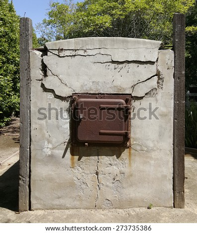 Century old outdoor stone oven for baking bread and other bakery items - stock photo