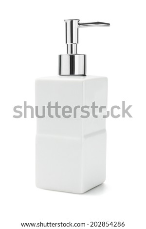 Ceramic Bottle Of Liquid Soap Dispenser On White Background