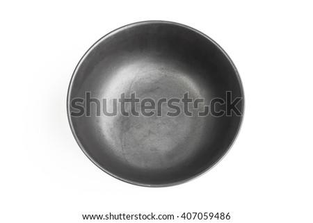 ceramic bowl isolated on the white background / Top view black empty bowl isolated on white background - stock photo