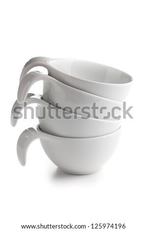 ceramic bowl on white background - stock photo