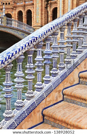 Ceramic bridge in Plaza de Espana in Seville, Andalusia, Spain - stock photo
