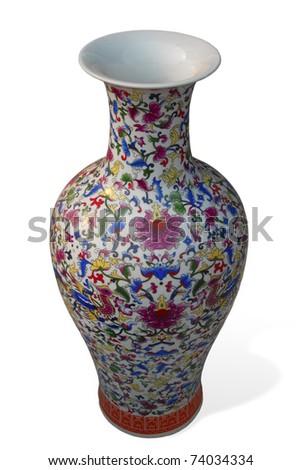 ceramic chinese vase with beautiful pattern on white background - stock photo