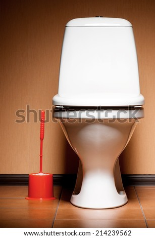 Ceramic clean new toilet in a bathroom - stock photo
