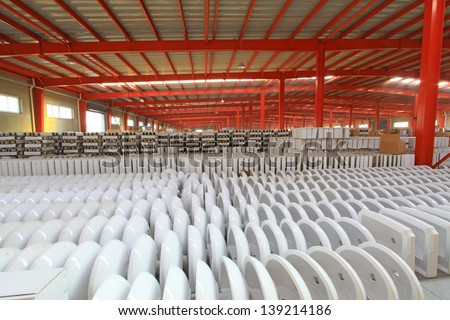 Ceramic closestool products in a warehouse