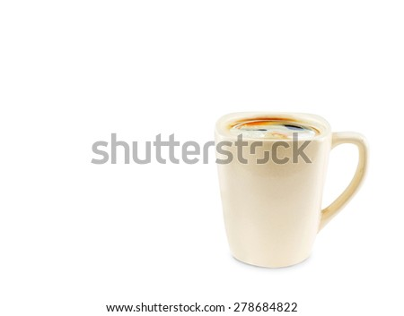 Ceramic Coffee cup on white background ,Clipping path on cup - stock photo