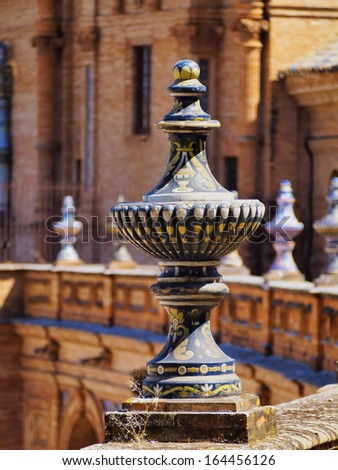 Ceramic Detail of Architecture in Plaza de Espana - Spanish Square in Seville, Andalusia, Spain