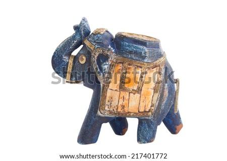 ceramic elephant sculpture isolated on white background - stock photo