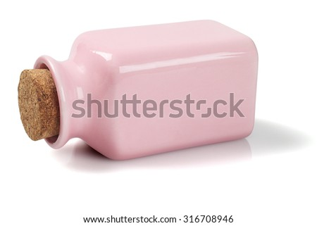 Ceramic Jar With Cork Stopper Lying on White Background - stock photo