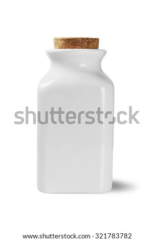 Ceramic Jar with Cork Stopper on White Background - stock photo