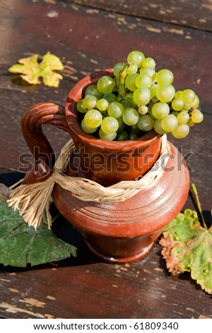 Ceramic jug with wine grape - stock photo