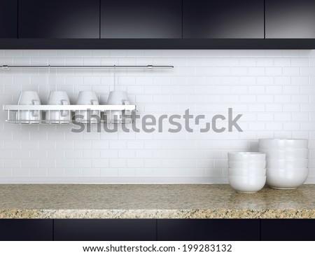 Ceramic kitchenware on the marble worktop. Black and white kitchen design. - stock photo