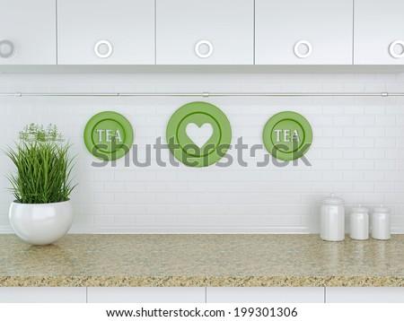 Ceramic kitchenware on the marble worktop. White kitchen design. - stock photo