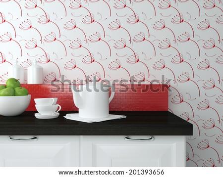 Ceramic kitchenware on the wooden worktop. Modern kitchen design. - stock photo