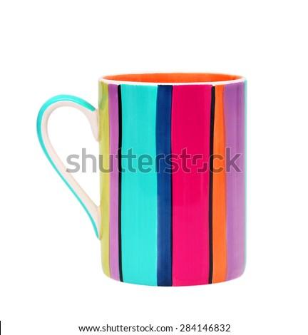 ceramic mug isolated on white background - stock photo