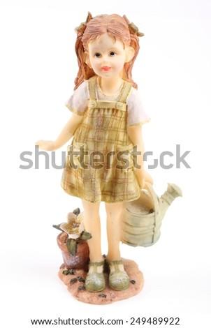 ceramic old doll - stock photo