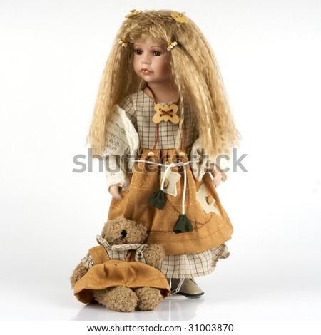 ceramic old dolly - stock photo