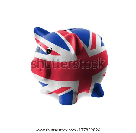Ceramic piggy bank with painting of national flag, United Kingdom - stock photo