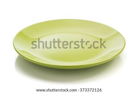 ceramic plate isolated on white background - stock photo