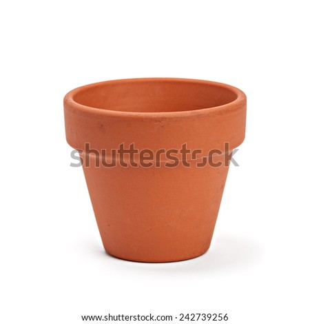 ceramic pot on white background - stock photo