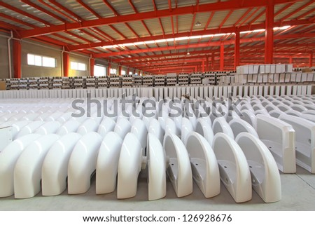 ceramic products in a warehouse, in a factory