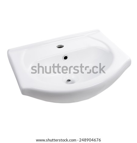ceramic sink isolated on white - stock photo