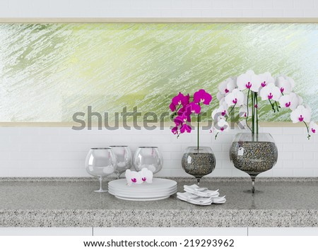 Ceramic tableware on the worktop in front of big window. White kitchen design. - stock photo