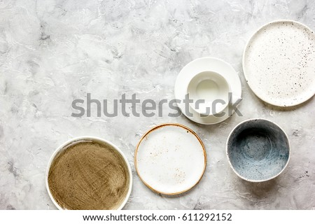 ceramic tableware top view on stone background mock up & Ceramic Tableware Top View On Stone Stock Photo (100% Legal ...