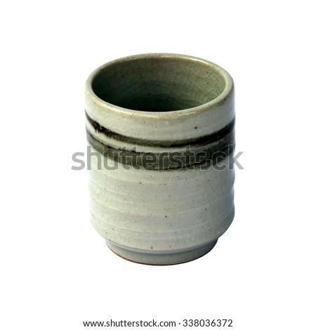 Ceramic tea cup with crackle glaze - stock photo