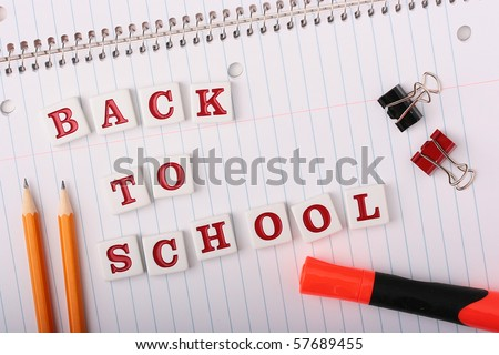 Ceramic the letter make inscription Back to School.