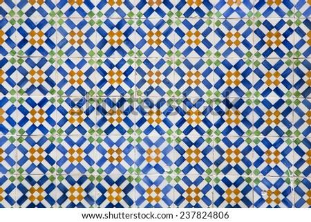 ceramic tile in Lisbon street, Portugal. - stock photo