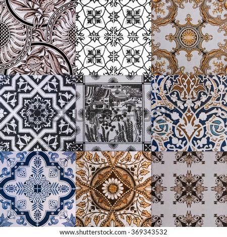 ceramic tile texture - design wall bathroom indoor outdoor handcraft pattern background - stock photo