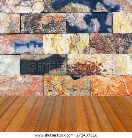 ceramic tile wall and wooden floor - room design wall bathroom indor outdoor handcraft pattern background - stock photo