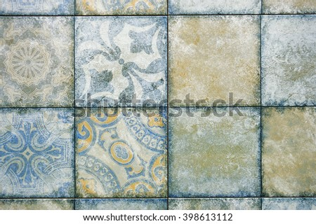 Ceramic tile with a pattern , background, texture - stock photo