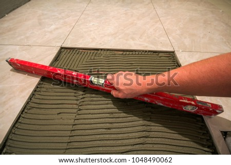 Ceramic Tiles Tools Tiler Worker Hand Stock Photo 100 Legal