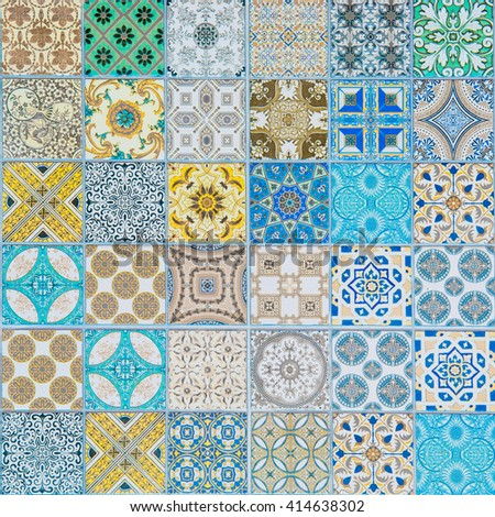 ceramic tiles patterns - stock photo