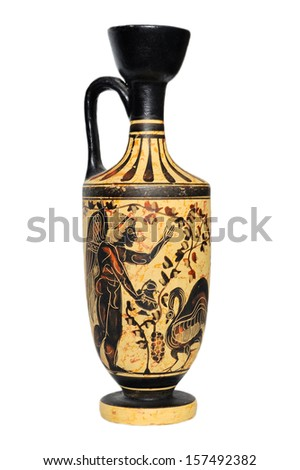 Ceramic vase from Greece isolated on white background. - stock photo